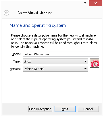 Create new virtual server