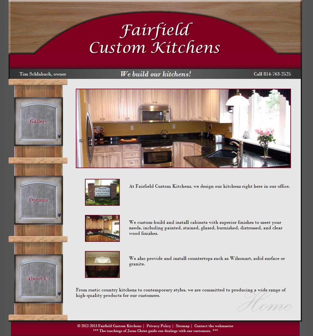 HTML Business Website for Fairfield Custom Kitchens | Web Design and on custom htmlhelper, custom text, custom script, custom fireworks,