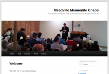 homepage of Meadville Mennonite Chapel, Wordpress nonprofit website