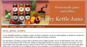 homepage for Country Kettle Jams, html business website
