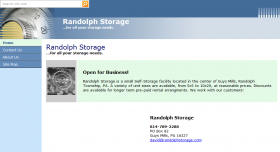 front page of www.randolphstorage.com, html website for self-storage rental business in Guys Mills, PA